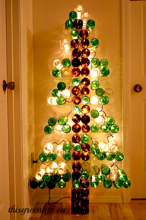 re purposed bottle tree - Christmas Bottle Decorations