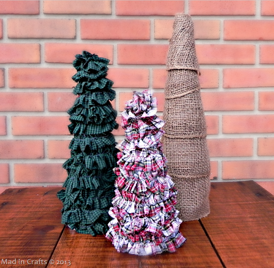 Ruffled Plaid Trees Made from Thrift Store Shirt Scraps and Foam Cones