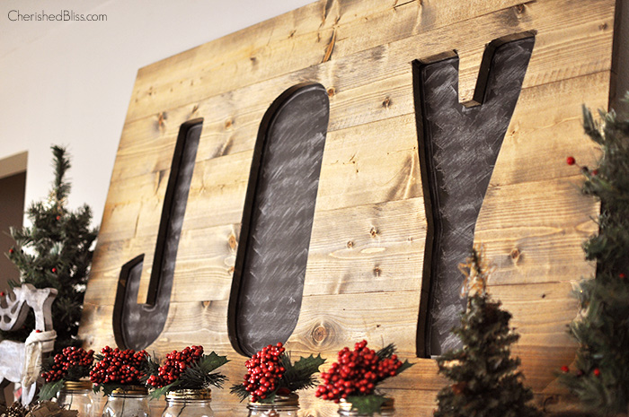 Rustic Wooden Joy Sign