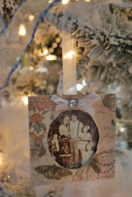 Shabby Chic Christmas picture frame ornaments