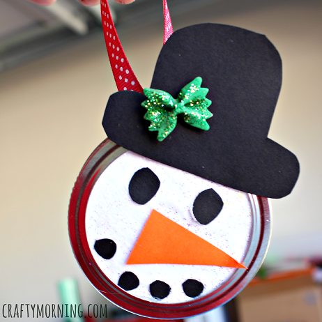Snowman Mason Jar Lid Ornament