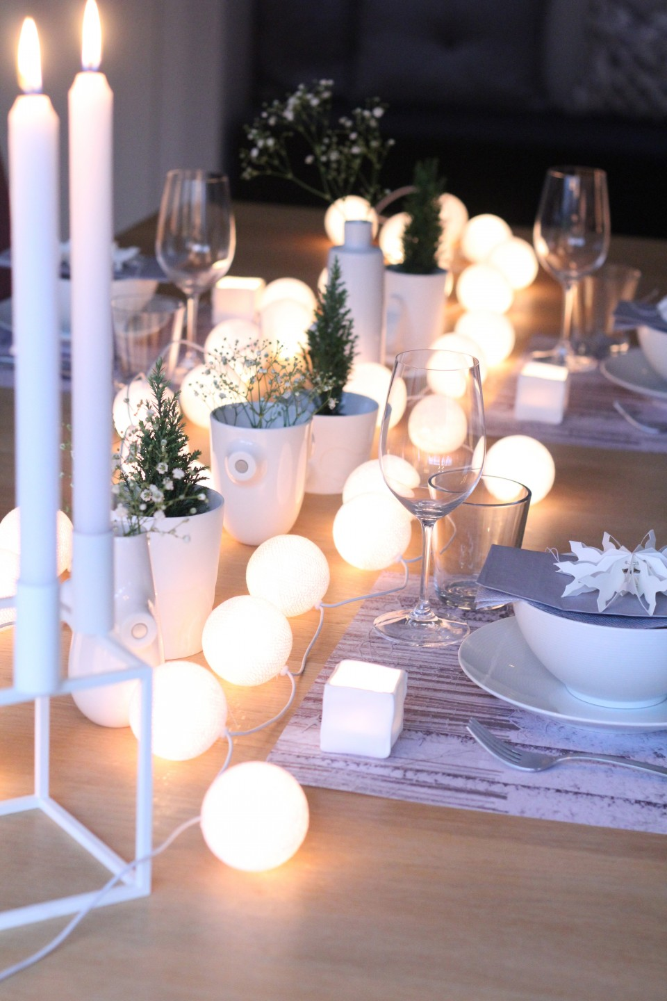 String Lights on Your Party Table