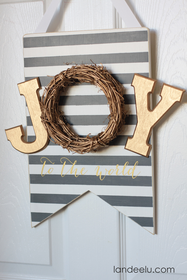 Striped Banner JOY Sign