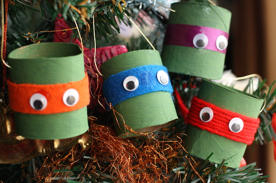 Teenage Mutant Ninja Turtle Ornaments with Toilet Paper Rolls