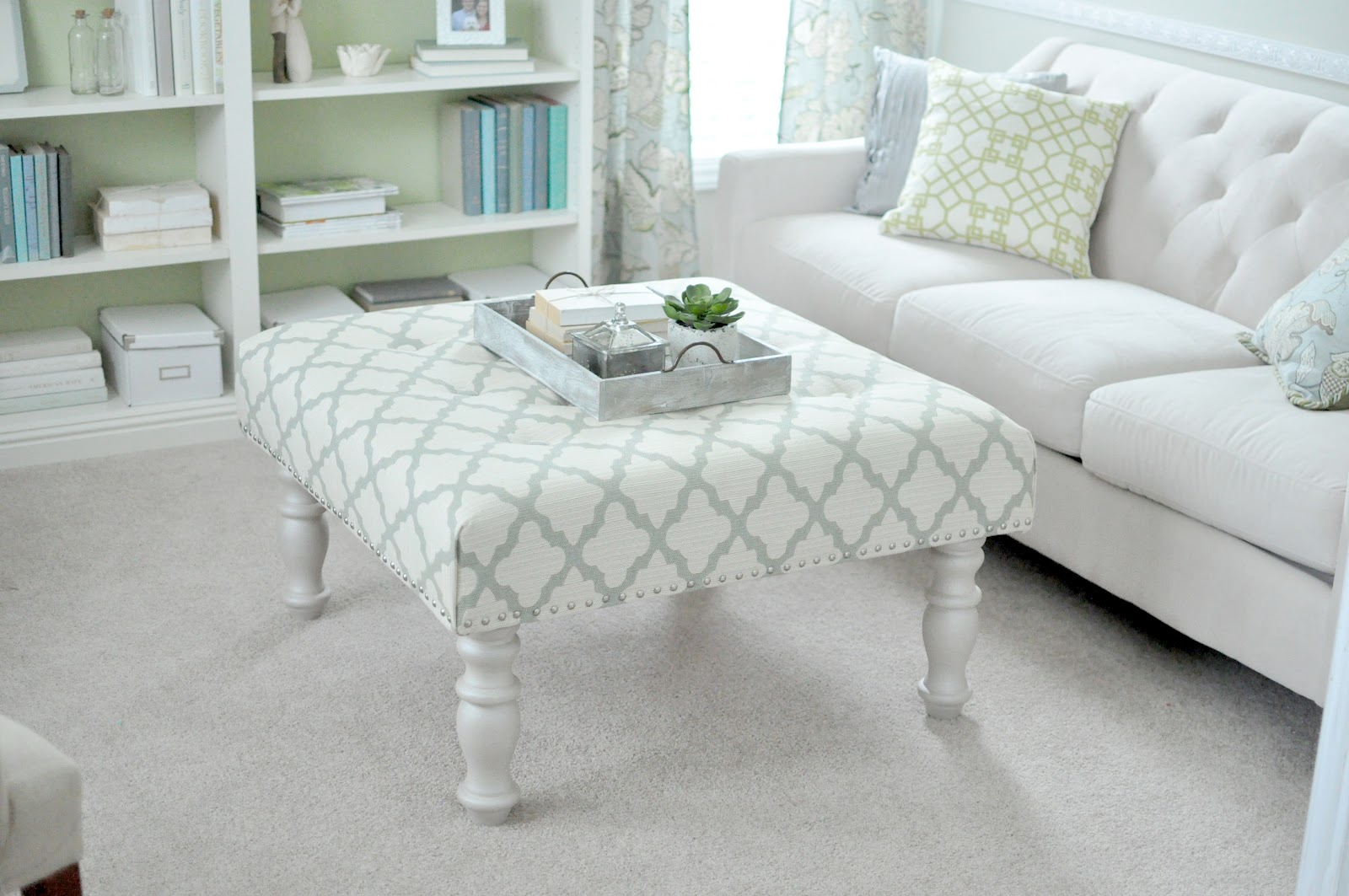 Turn an old coffee table into a stylish upholstered ottoman