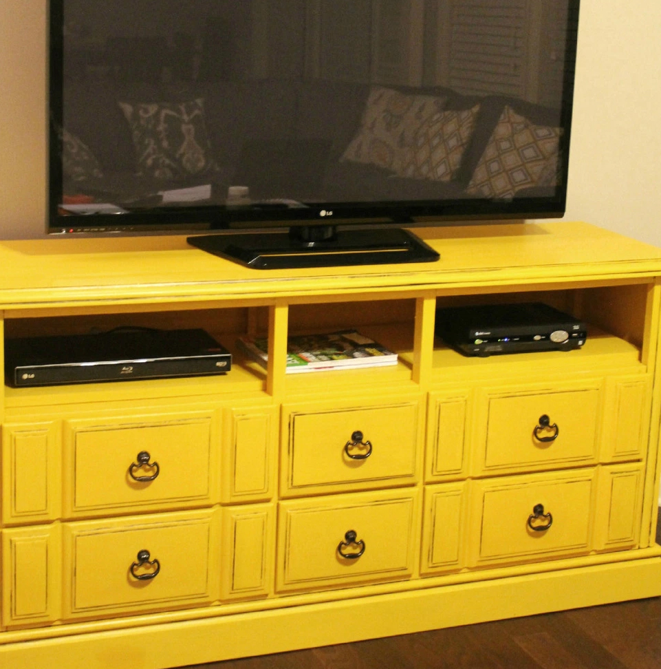 Turn an old dresser into a TV console