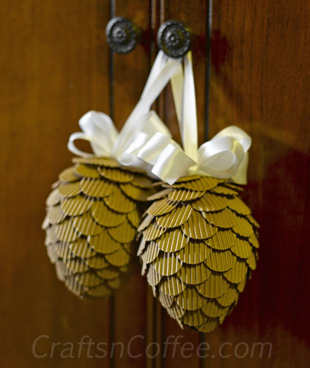 Turn corrugated cardboard into pine cones