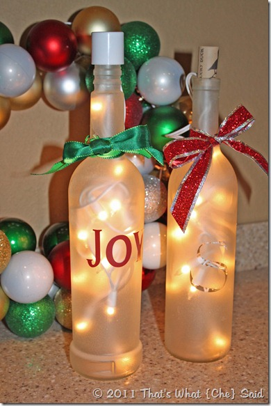 upcycle wine bottles into frosted luminaries - Christmas Wine Bottle Decorations