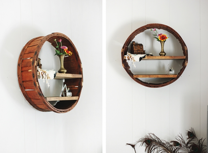 Upcycle an old basket into a new circular shelf