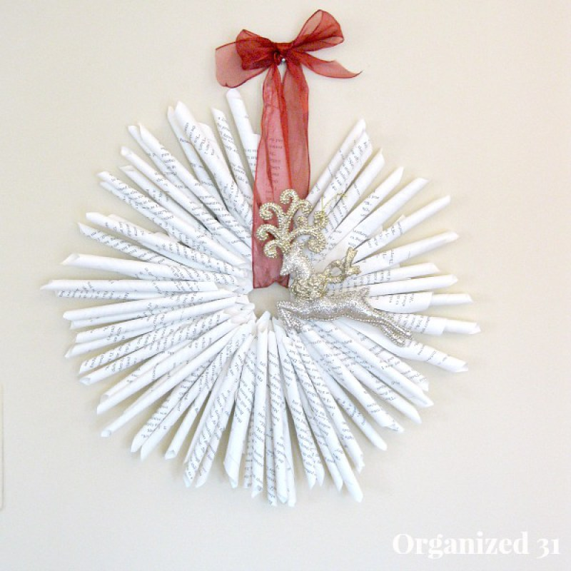 Upcycled Book Page Christmas Wreath