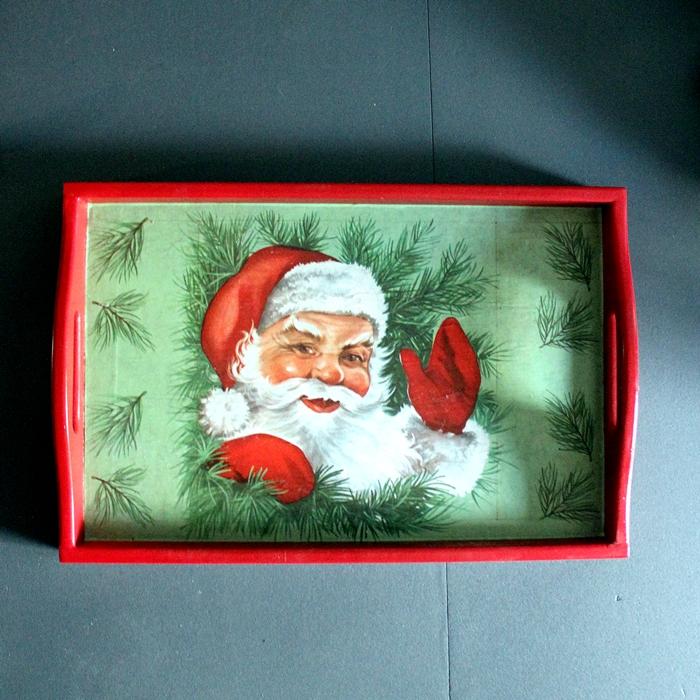 Upcycled Vintage Santa Tray