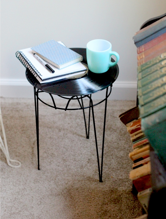 Upcycled side table made using a vintage record