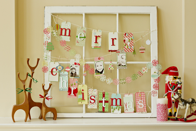 Use an old window to create this amazing Christmas memo board
