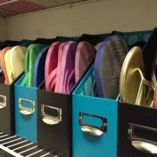 Use old magazine holders to store flip flops and sandals