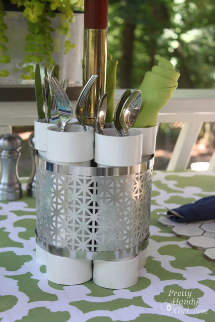 Utensil holder made from PVC pipe and metal screening