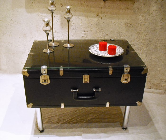Vintage Suitcase Turned into Side Table