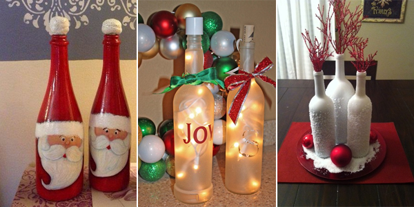 12 amazing wine bottle christmas crafts - Christmas Bottle Decorations