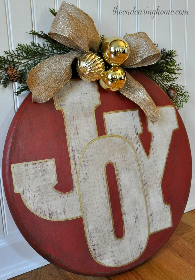Wood Circle JOY Ornament