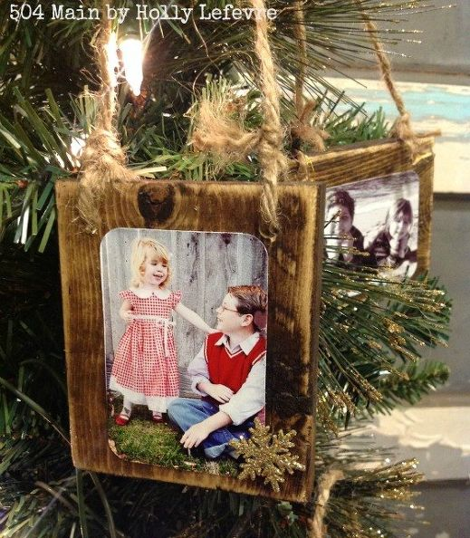 Wood Scrap Photo Ornaments