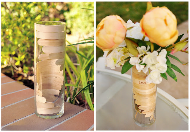 Wrap the sticks around the inside of the vase in a cool pattern