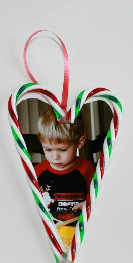 candy cane picture frame ornament