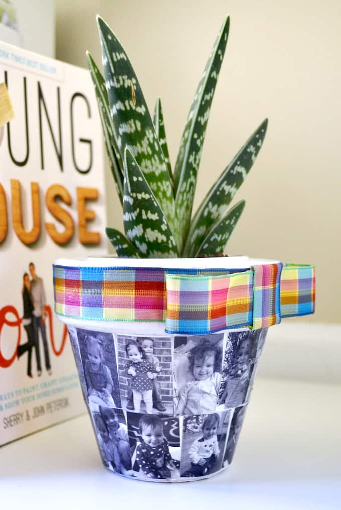 decorate a flower pot with photos