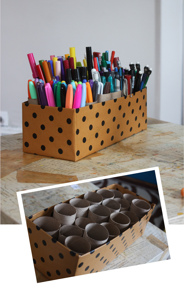 marker caddy from a shoebox and some empty toilet paper rolls