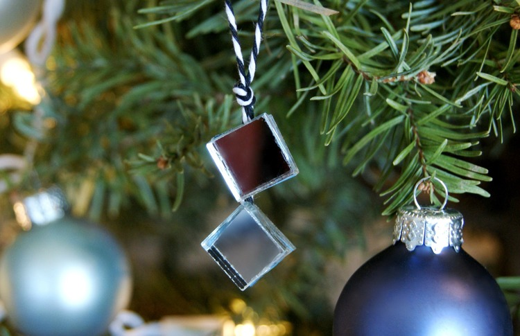 mirror tile tree ornaments