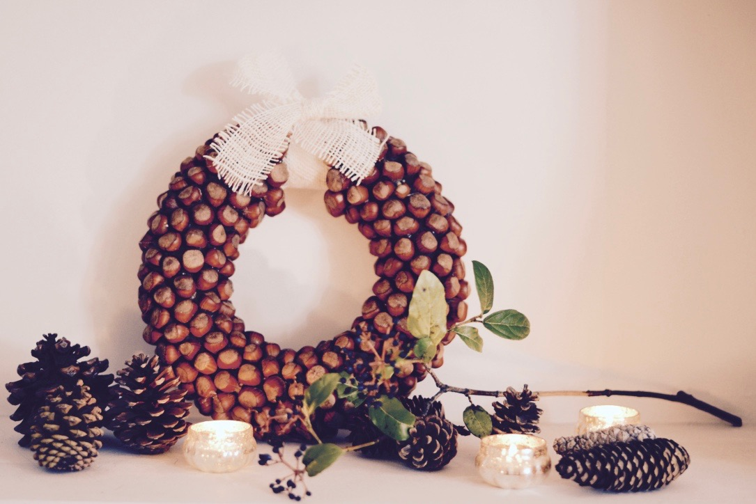 natural hazelnut wreath
