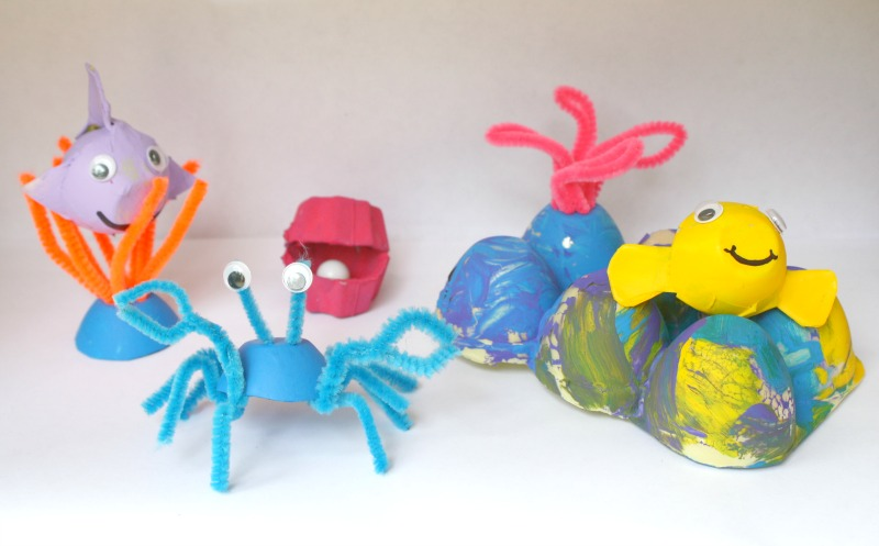 recycled egg carton coral reef play set