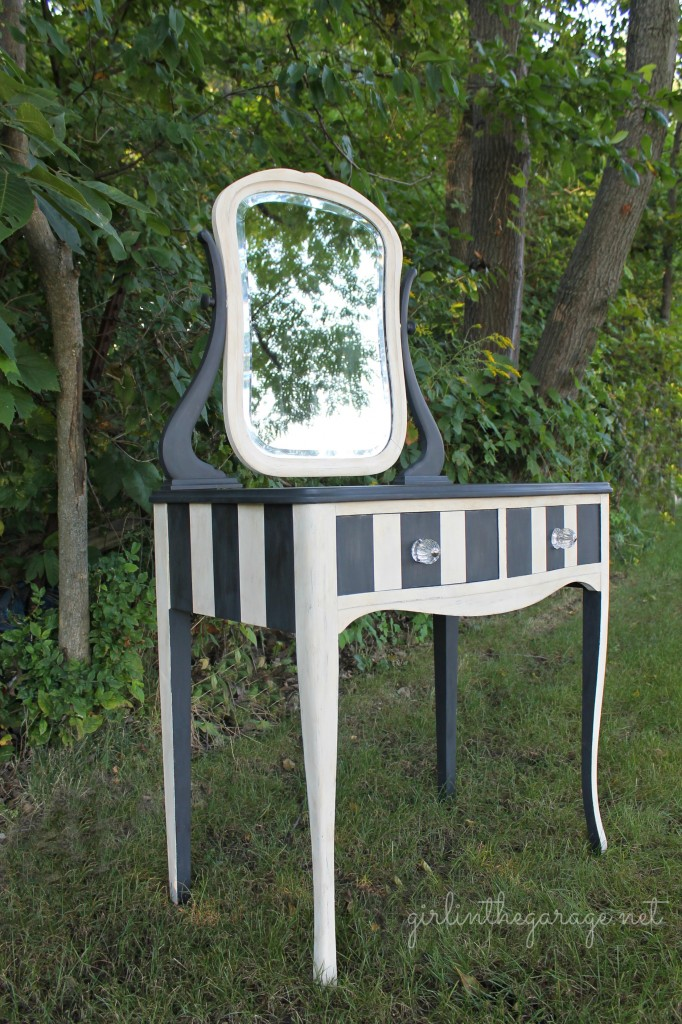 striped vanity with chalkboard parts