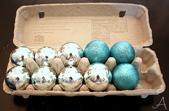 use egg cartons to keep your ornaments safe
