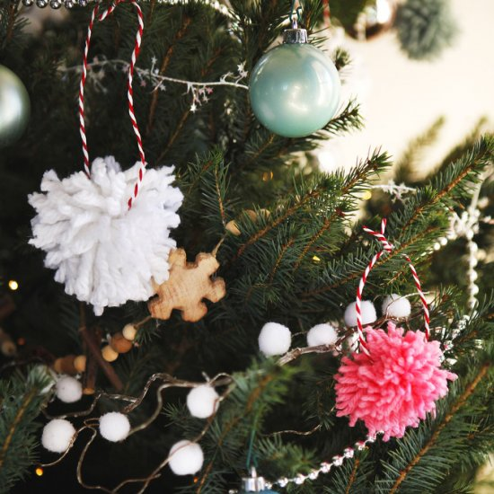yarn pom pom ornaments
