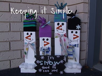 2x4 Wood Greeting Snowmen