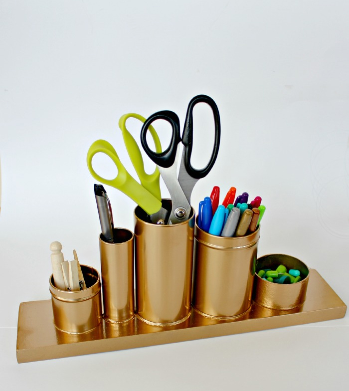 A gold Desk Organizer