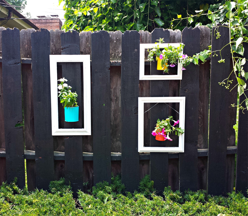 Add a pop of color to your fence using old picture frames and up-cycled cans as planters