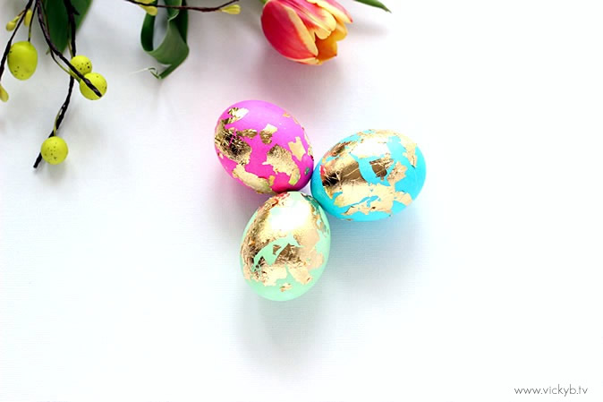 Add some glamour to your Easter eggs by dressing them up in gold leaf