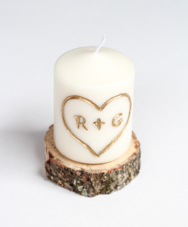 Carved Initial Candle