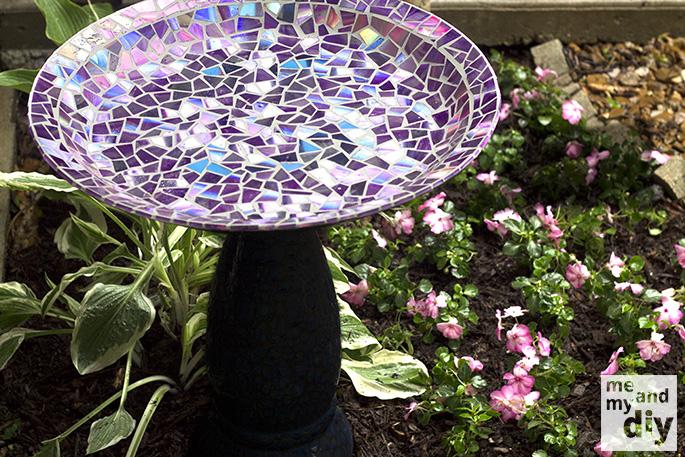 Create Birdbath with a beautiful mosaic tile using recycled CDs