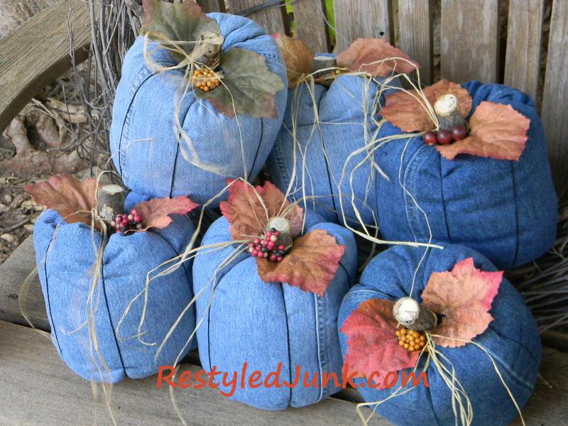 Create a fun denim country pumpkins