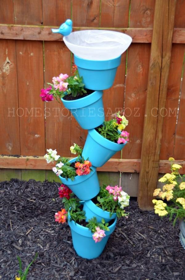 Create a lovely planter and bird bath duo