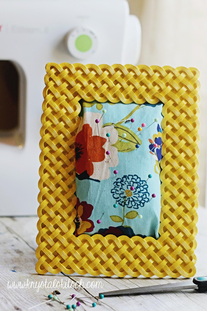 Create a picture frame pin cushion to hold your pins