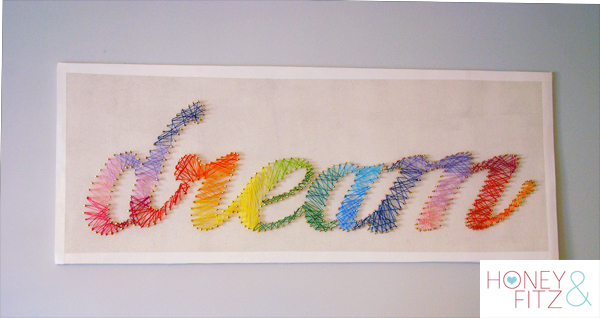 Create string art with embroidery floss or yarn