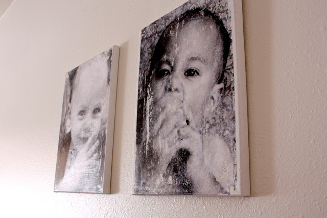 Distressed picture canvases made with canvas, a blown up photo and gel medium