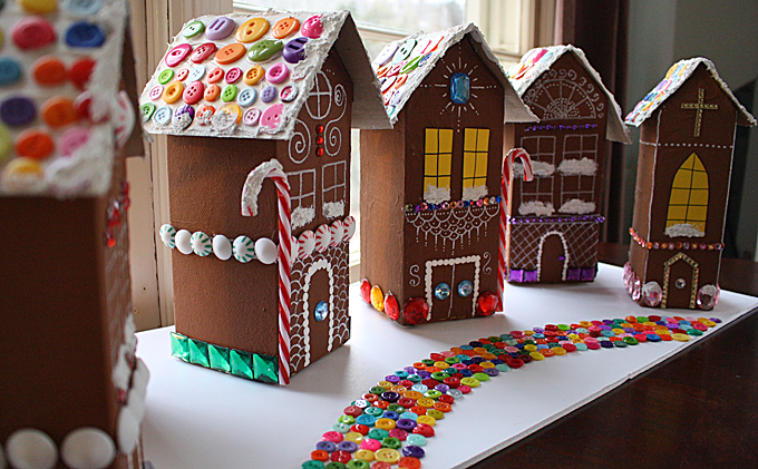 Gingerbread Houses Made from Recycled Milk Cartons