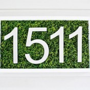 House number made with using faux grass