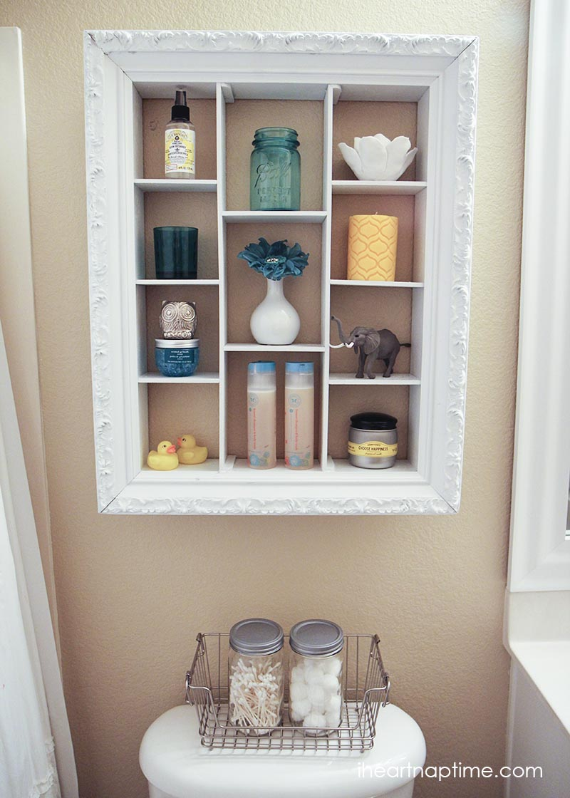 Make this chic bathroom cabinet to hold all your bath and body products