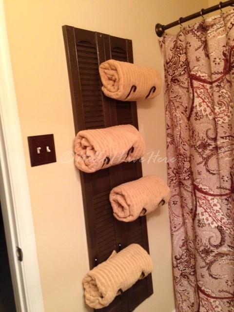 Make this functional DIY shutter towel rack