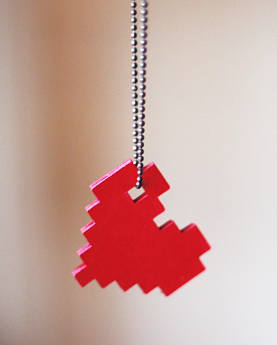 Make this simple yet romantic pixel heart necklace