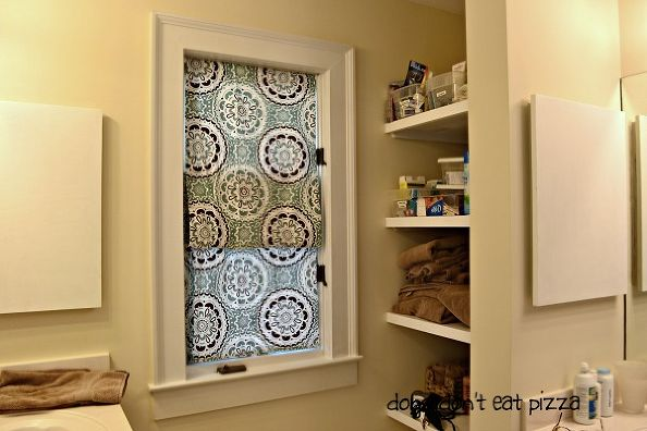 No-Sew Faux Roman Shades From Shower Curtain